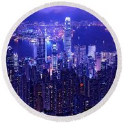 Hong Kong In Purple Round Beach Towel