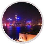 Hong Kong Skyline Round Beach Towel by Pixel  Chimp