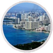 Honolulu And Waikiki From Diamond Head Round Beach Towel