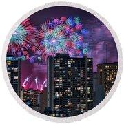 Honolulu Festival Fireworks Round Beach Towel
