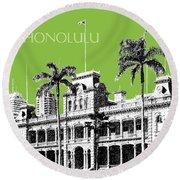 Honolulu Skyline Iolani Palace - Olive Round Beach Towel