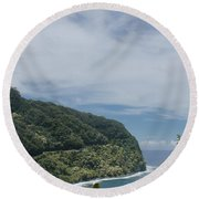 Honomanu Highway To Heaven Road To Hana Maui Hawaii Round Beach Towel