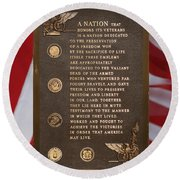 Honor The Veteran Signage With Flags 2 Panel Composite Digital Art Round Beach Towel
