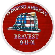 Honoring Americas Bravest From Sept 11 Round Beach Towel