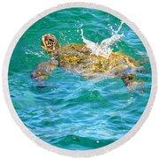 Honu Hawaiian Green Sea Turtle Round Beach Towel