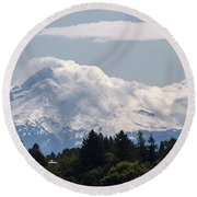 Hood In The Clouds  Round Beach Towel