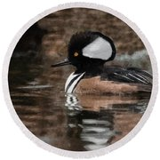 Hooded Merganser 2 Round Beach Towel