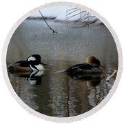 Hooded Merganser Mates Round Beach Towel