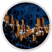 Hoodoos In Shadows Bryce Canyon National Park Utah Round Beach Towel