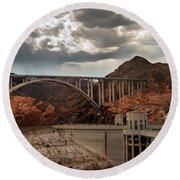 Hoover Dam Bridge Round Beach Towel