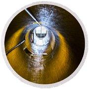 Hoover Dam Ventilation Tunnel Round Beach Towel