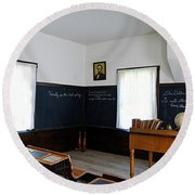 Hoover Historic Site Schoolhouse Classroom Round Beach Towel
