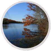 Hopeville Autumn Reflections     Round Beach Towel