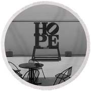 Hope And Chairs In Black And White Round Beach Towel