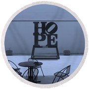 Hope And Chairs In Cyan Round Beach Towel