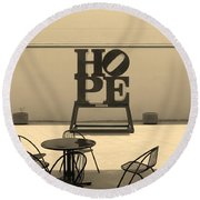 Hope And Chairs In Sepia Round Beach Towel