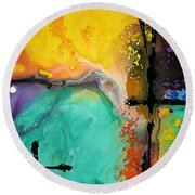 Hope - Colorful Abstract Art By Sharon Cummings Round Beach Towel