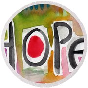 Hope- Colorful Abstract Painting Round Beach Towel