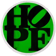 Hope In Green Round Beach Towel