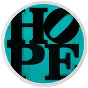 Hope In Light Blue Round Beach Towel