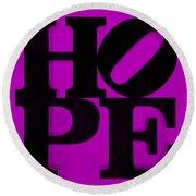 Hope In Purple Round Beach Towel