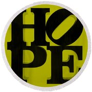 Hope In Yellow Round Beach Towel