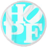 Hope Inverted Aquamarine Round Beach Towel