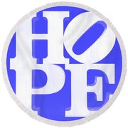 Hope Inverted Blue Round Beach Towel