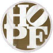 Hope Inverted Brown Round Beach Towel