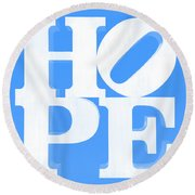 Hope Inverted Light Blue Round Beach Towel