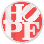 Hope Inverted Red Round Beach Towel