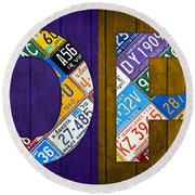 Hope Lettering Sign Kitchen Dining Room Recycled Vintage License Plate Art Round Beach Towel