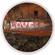 Hope Love Lovelife Round Beach Towel