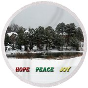 Hope Peace Joy Round Beach Towel