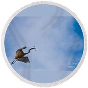 Hopeful Egret Building A Home  Round Beach Towel