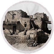 Hopi Hilltop Indian Dwelling 1920 Round Beach Towel