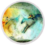 Horse Racing 02 Madness Round Beach Towel