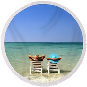 Horizon Blues Round Beach Towel