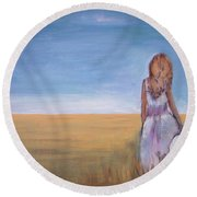 Girl In Wheat Field Round Beach Towel