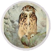 Horned Owl Round Beach Towel