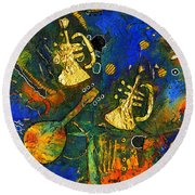 Horns And Other Things Round Beach Towel