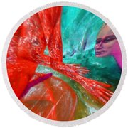 Horny Explosion Of Lust Round Beach Towel