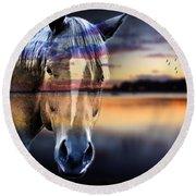 Horse 6 Round Beach Towel by Mark Ashkenazi