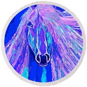 Horse Abstract Blue And Purple Round Beach Towel