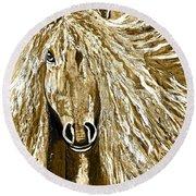 Horse Abstract Neutral Round Beach Towel