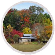 Horse And Barn In The Fall 3 Round Beach Towel