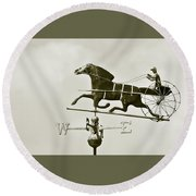 Horse And Buggy Weathervane In Sepia Round Beach Towel by Ben and Raisa Gertsberg