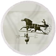 Horse And Buggy Weathervane In Sepia Round Beach Towel