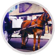 Horse And Carriage In Front Of Lafitte's Blacksmith Shop  Round Beach Towel