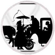 Horse And Carriage Silhouette Round Beach Towel